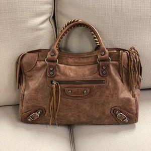 Balenciaga classic city distressed brown bag